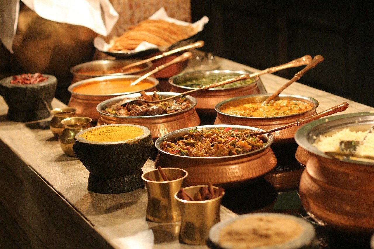 Traditional indian food on a buffet table