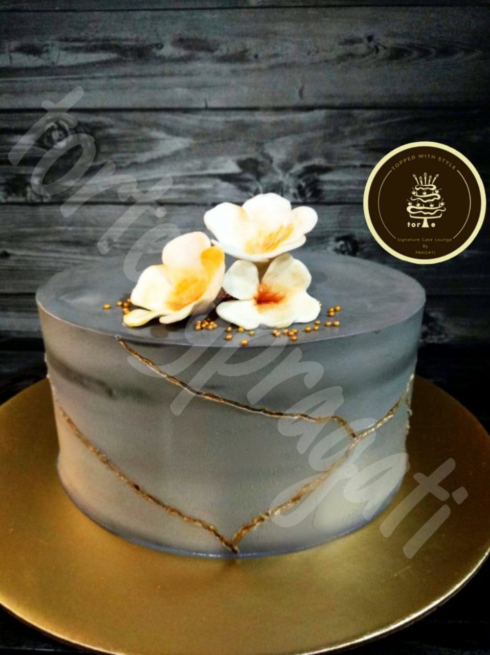 Grey elegant themed cake
