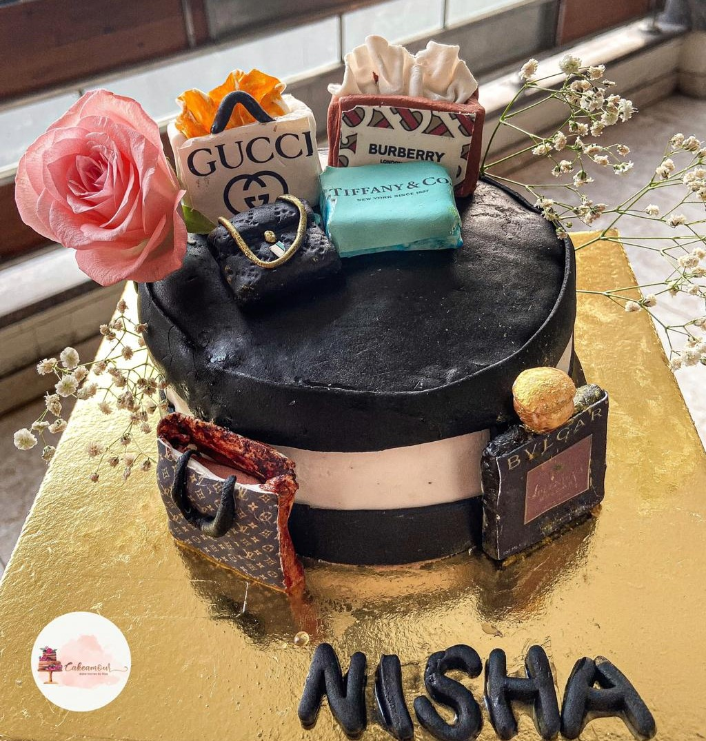 Fashion brands themed cake by Riya Sethi