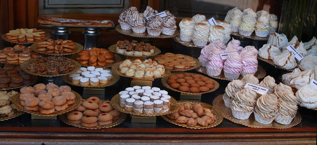 Baked goods displayed in a bakery