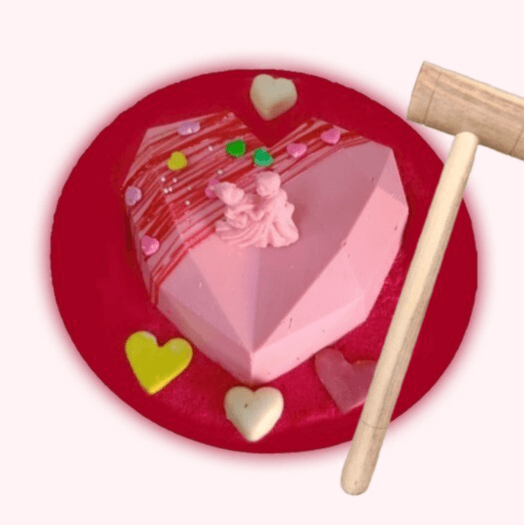 Heart Shape Pinata Cake Pink and Red Color